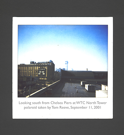View of the North Tower, World Trade Center, morning September 11, 2001. photo by Thomas Hudson Reeve
